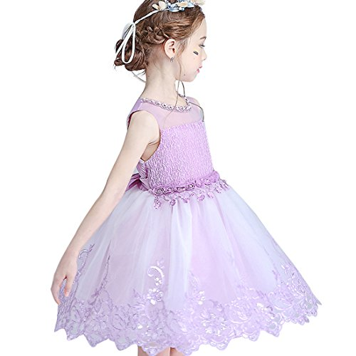Little Girls Kids Dress Lace Perspective Beading Light Purple Flower Girl Dresses for Weddings First Communions Special Occasions Beach Dress Toddler Girls Clothes Tutu Size 3T (Purple, 100)