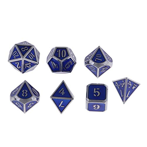 Flameer 7pcs Polyhedral Dice Set Multi-Sided D4 D6 D8 D10 D20 Dice Set for  Casion Table Game - Chromium Clear Blue, 14mm