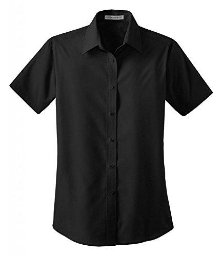 Port Authority Ladies Short Sleeve Value Poplin Shirt Black L633 (Value Poplin Shirt)