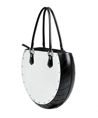 Ty's Bag, Borsa Donna SAFFIANO WHITE, colore Bianco, in Ecopelle e Gomma, Made in Italy