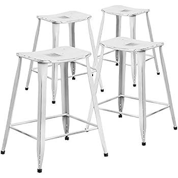 Flash Furniture 4 Pk. 24u0027u0027 High Distressed White Metal Indoor Outdoor  Counter