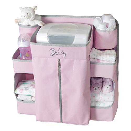 Llama Bella Premium Nursery Organizer and Baby Diaper Caddy | Hanging Diaper Organizer for Baby Essentials | Hang on Crib, Changing Table, Playard or Furniture | Portable Storage for Wipes (Pink)