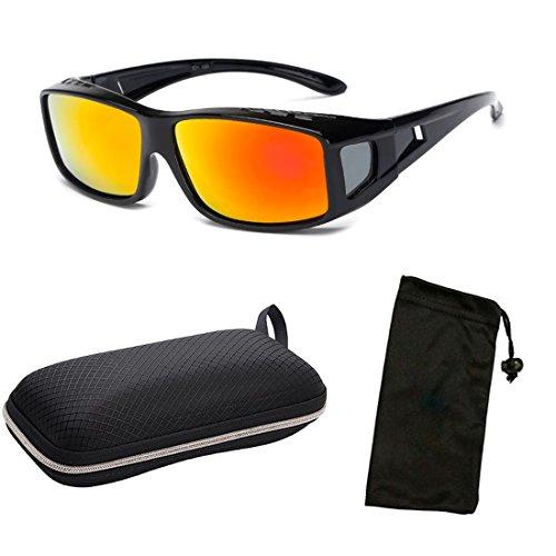 b954cf43f1b 1 Pair Polarized Lenses RX Men Women Fit Over Cover Glasses Sunglasses +  Free Hard Case