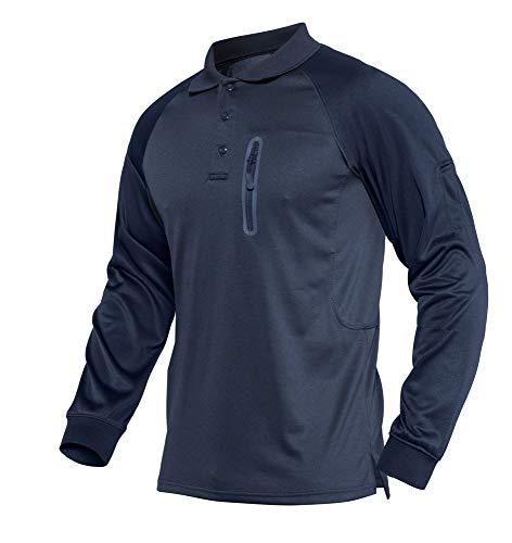 KEFITEVD Polo à manches longues pour homme avec poche zippée 1