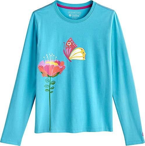 Coolibar UPF 50+ Kids' Long Sleeve Everyday Graphic T-Shirt - Sun Protective (X-Large- Aruba Blue Summer -