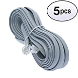 GOWOS (5 Pack) 25Ft RJ11 Modular Telephone Cable Reverse