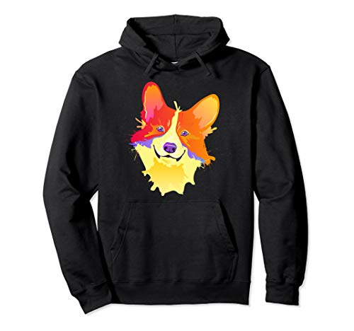 - Funny Splash Art Corgi Hoodie Colorful Welsh Dog Face Top