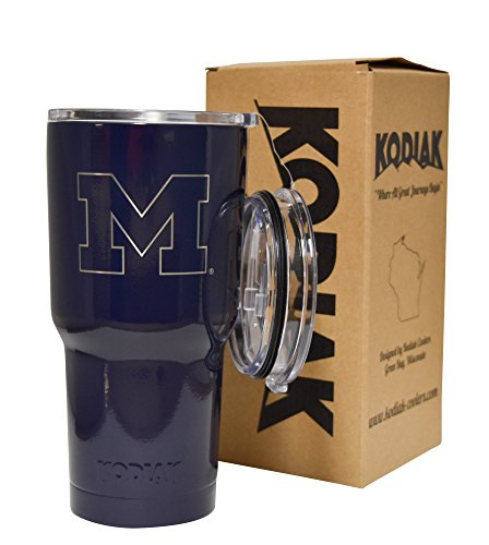 Michigan Wolverines (Blue) NCAA Engraved Vacuum Insulated Tumbler Two Lids Kodiak Coolers - Stainless Steel Double Wall - Thermal Coffee Travel Cup Rambler Yeti - Ice Over 24 Hours (30 oz)