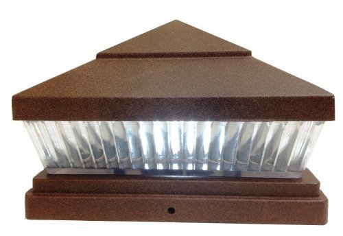 6-Pack Solar TEXTURED COPPER FINISH Post Deck Fence Cap Lights for 5 X 5 Vinyl/PVC or Wood Posts With White LEDs and Vertical-lined Clear Lens -GREEN NATURAL SOLAR by Atlantic Solars