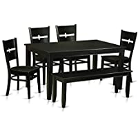East West Furniture DURO6-BLK-W 6 Piece Kitchen Table and 4 Dining Room Chairs with Bench Nook Set