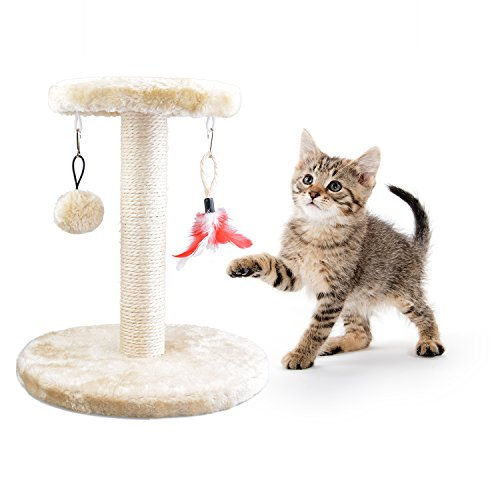 Dimaka Cat Furniture, Scratching Post and Condo House, Activity Tree, Scratching Pad (Beige Scratching Post, Small) Small Chipboard House