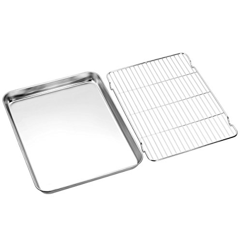 Baking sheets and Rack Set, Zacfton Cookie pan with Nonstick Cooling Rack & Cookie sheets Rectangle Size 12 x 10 x 1 inch,Stainless Steel & Non Toxic & Healthy,Superior Mirror Finish & Easy Clean by Zacfton (Image #1)