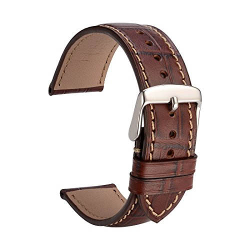 WOCCI Leather Watch Band 21mm Brown Alligator Embossed Watch Strap with Silver Pins Buckle and Remove Tools (21 Band Watch Leather Millimeter)