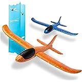WATINC 2pcs 13.5inch Airplane, Manual Throwing, Fun, challenging, Outdoor Sports Toy, Model Foam Airplane, Blue & Orange Airplane (WT-Airplane 2Pcs)