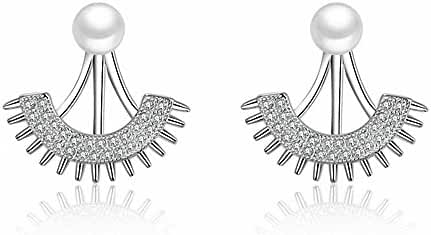 megko Clear Crystal Fan Shape Ear Jacket Earrings Front/Back Ear Cuffs Pearl Stud Earring