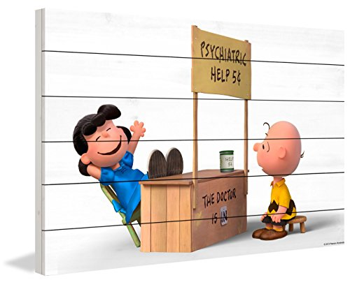 Peanuts MH-PNTS-35M-WW-24 The Doctor is In Painting Print On White Wood, Multicolor, 24'' x 16'' by Marmont Hill
