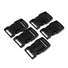 Dovewill 5Pcs Black Plastic 1-Inch(25mm) Flat Side Quick Release Buckles for Webbing Bags Backpacks Paracord