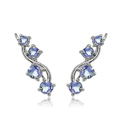 Amethyst Tanzanite Ring - Sterling Silver Tanzanite Vine Climber Crawler Earrings for Women