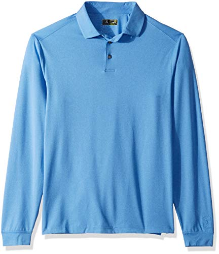 PGA TOUR Men's Long Sleeve Motionflux Heather Polo Shirt, Regatta Blue, L
