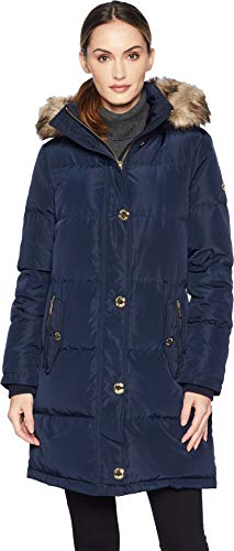 Michael Michael Kors Women's Button Front Down Coat with Faux Fur Trim Hood M823896G Navy Medium ()