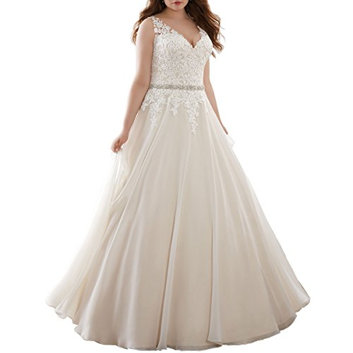 Beauty Bridal Plus Size Bridal Gown with Crystal Belt A Line Lace Wedding Dresses for Bride (20W,Ivory)