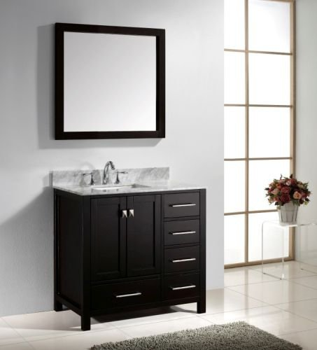 Virtu Usa Gs 50036 Wmsq Es Caroline Avenue 36 Inch Bathroom Vanity With Double Square Sinks In Espresso And Italian Carrara White Marble