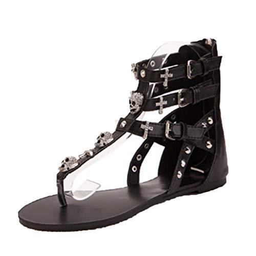 Summer Sandals Flip Flops Women,FAPIZI Beach Shoes Platform Bohemian Gladiator Beaded Rhinestone T-Strap Flat Black