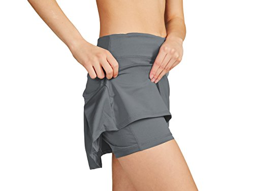 Cityoung Women's Casual Pleated Golf Skirt with Underneath Shorts Running Skortss grey1 by Cityoung (Image #6)