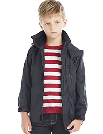 BYCR Boys' Hooded Lightweight Windproof Rain Jacket Coat Kids Age 5-16 Years (120 (Size 5), Black)