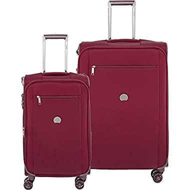 Delsey Luggage Montmartre+ 21 Inch Carry On and 25 Inch Luggage Set, Bordeaux