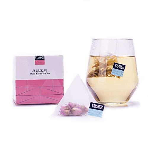 Cha Wu-Rose & Jasmine Tea Bag,16 Tea bags,8 Count/Boxs(Pack of 2),Natural Rose Tea Bud with Jasmine Green Tea loose leaf
