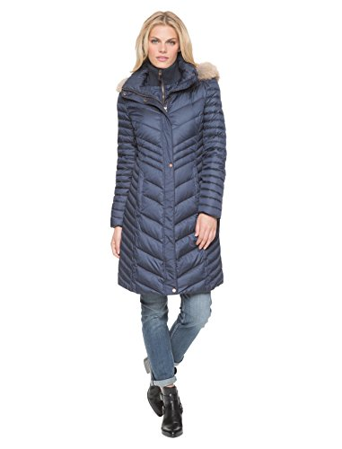 Marc New York by Andrew Marc Women's Kendell Mid-Length Down Coat Small (Belted Denim Coat)