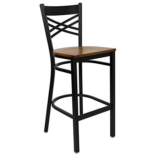 Flash Furniture HERCULES Series Black ''X'' Back Metal Restaurant Barstool - Cherry Wood Seat - Furniture Restaurant Wood Bar Stool