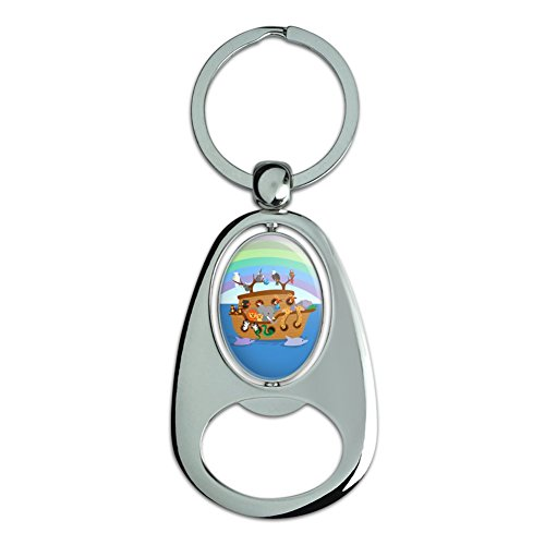 Noah's Ark with Animals Chrome Plated Metal Spinning Oval Design Bottle Opener Keychain - Chrome Plated Snake Chain