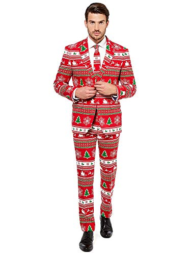 OppoSuits Christmas Suits for Men in Different Prints - Ugly Xmas Sweater Costumes Include Jacket Pants & Tie]()