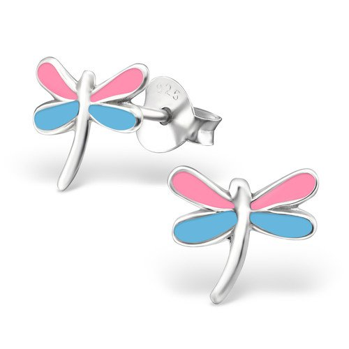 Dragonfly Ear Studs 925 Sterling Silver And Epoxy Color Child Children Jewelry