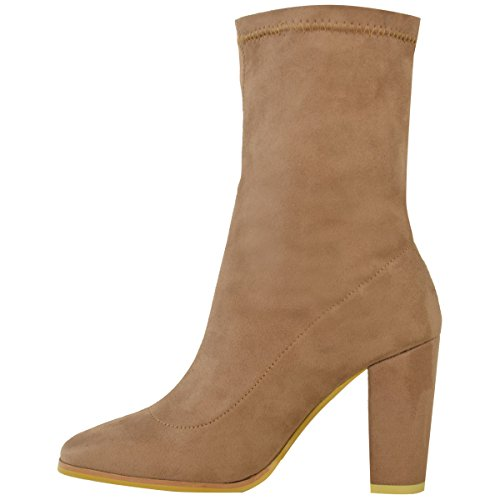 Fashion Thirsty Womens Ladies Chelsea Chunky Block Heel Ankle Boots Stretchy Soft Slip On Size Mocha Brown Faux Suede QiYLSDkxTf