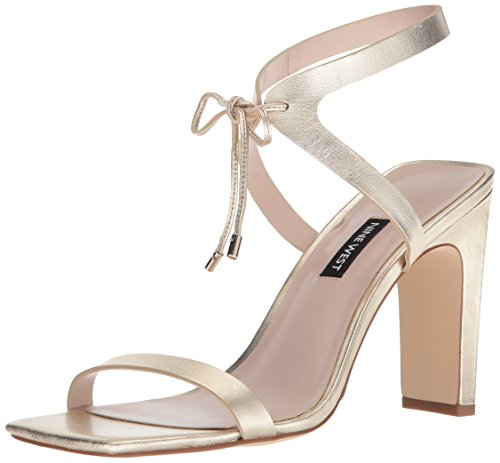 Nine West Women's LONGITANO Heeled Sandal, Light Gold/Metallic, 8.5 Medium US