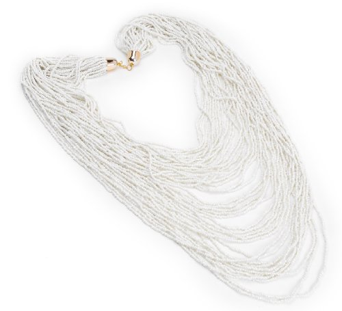 Jerollin Fashion Multi Strand Chain Handmade White Seed Beads Pendant Long Necklace