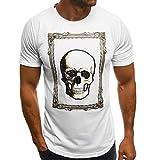 Round Neck Tops for Men,Men's Summer Fashion Skull Cotton Printed T-Shirt Blouse Top,White,XL
