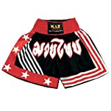 M.A.R International Ltd Kick Boxing & Thai Boxing Shorts Kickboxing Bottoms Mma Pants Boxing Clothing Muay Thai K1 Gear Polyester Satin Fabric Black/Red