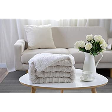 Multiple Colors- Reversible - Sherpa/ Microplush Throw Blanket- 50 x 60 -White - Exclusively by Blowout Bedding RN# 142035