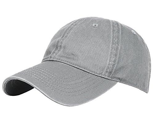 Glamorstar Classic Unisex Baseball Cap Adjustable Washed Dyed Cotton Ball Hat Grey (Cap Vintage Ball)