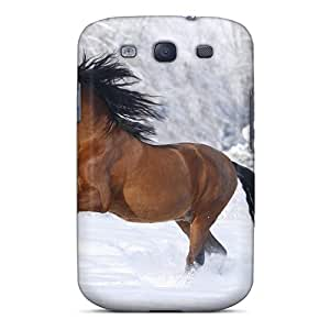 New Fashionable Johnlatisee NwAvnLR3155YnnHb Cover Case Specially Made For Galaxy S3(horse Running In The Snowl)