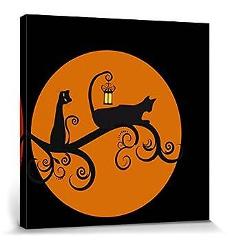 1art1® Gatos - Gatos Negros En La Noche De Luna Llena Cuadro, Lienzo Montado sobre Bastidor (40 x 40cm): Amazon.es: Hogar