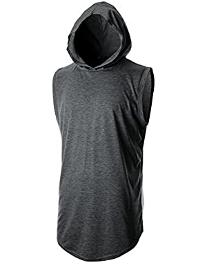 Mens Slim Fit Thin Super Lightweight Sleeveless Hoodie with Kanga Pocket