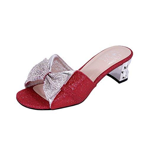 Measurement Bow Pretty Sandals On Width Red FLORAL Size Block Rhinestone Slip Women Wide Farrah Ornate Heel wqw4XC6