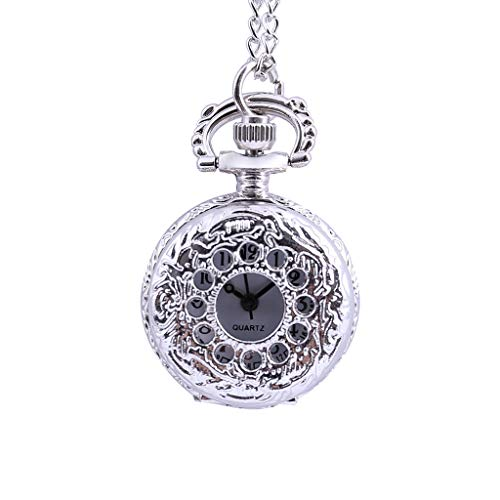 Orcbee  _Vintage Round Dial Quartz Small Pocket Watch Classical Roman Scale Pocket Watch Gift (B)