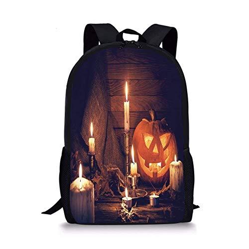 School Bags Halloween,Rustic Home Wooden Planks Burning Candles Pumpkin Sackcloth Harvesting Holiday Decorative,Orange Brown for Boys&Girls Mens Sport -