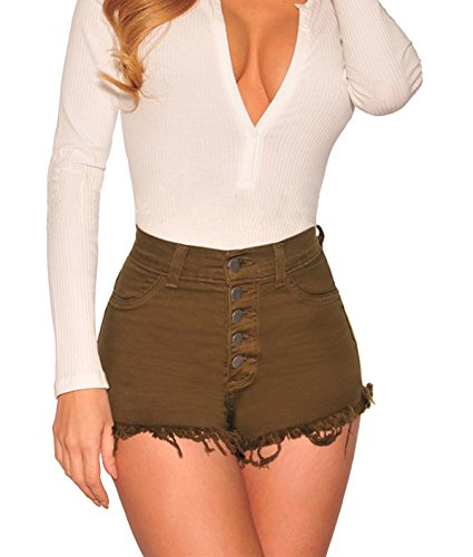 Tengo Womens High Waist Microstretch Cotton Denim Shorts